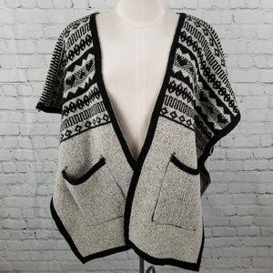 Open front knit drop shoulder poncho
